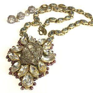 Vintage St. Erasmus Crystal Statement Necklace